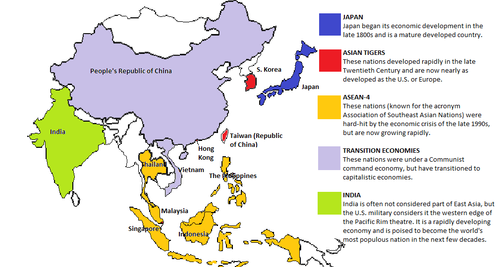 Map created by Daniel Coats of the East Asian economies, based on the discussion in Robert Mead's 2013 course.