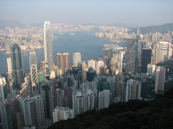 A view of the Hong Kong skyline from the The Peak.