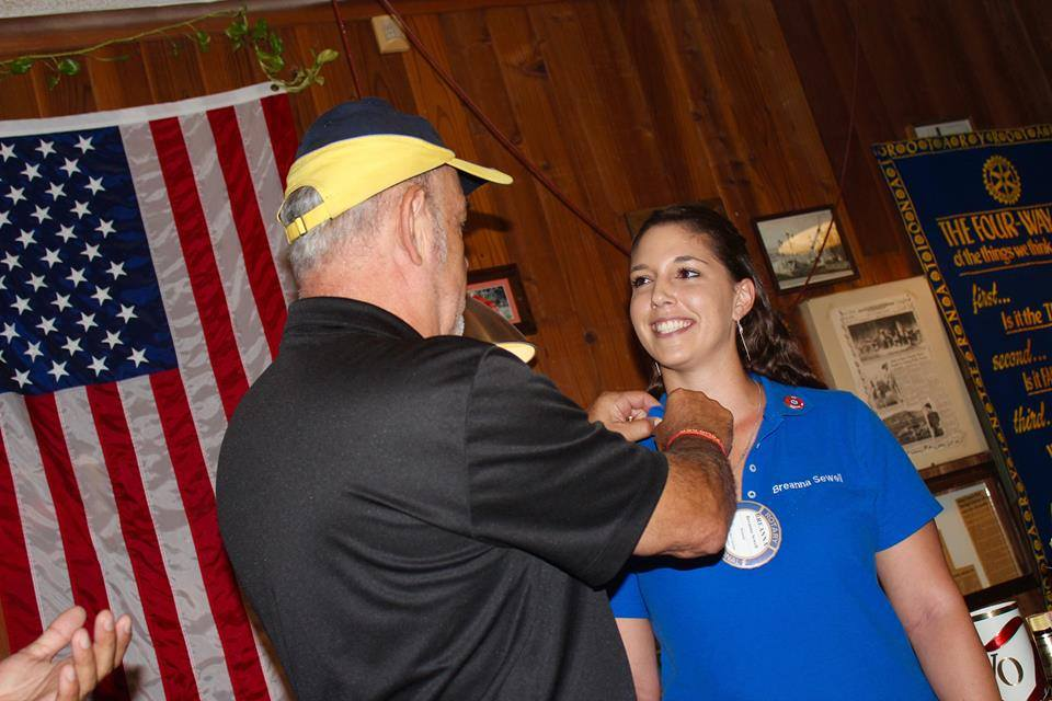 Breanna Sewell receives the Services with Passion Award, bestowed by the Desert Hot Springs Rotary Club.