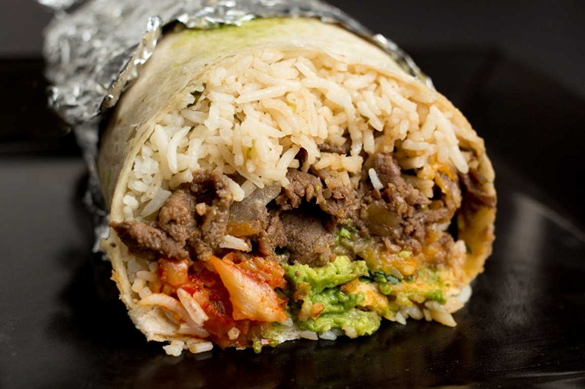 A delicious Korean-Mexican fusion burrito from Seoulmate, a startup founded by Cal State Fullerton alumni.