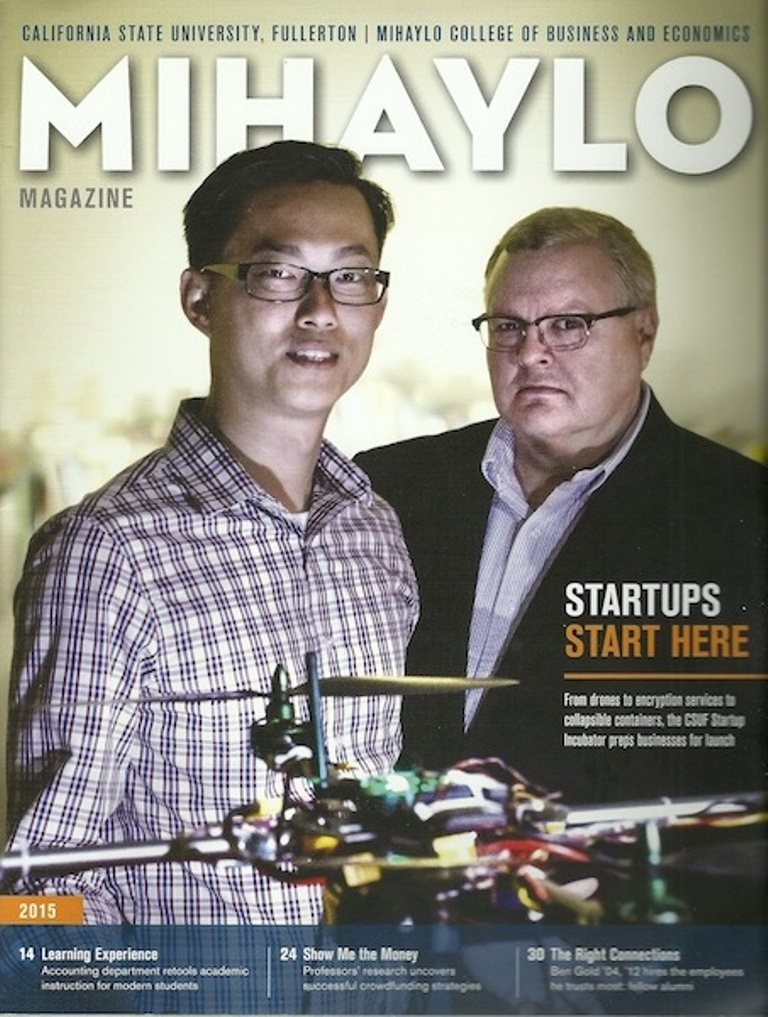 The cover of the 2015 Mihaylo Magazine, the annual alumni publication of Cal State Fullerton's business college.