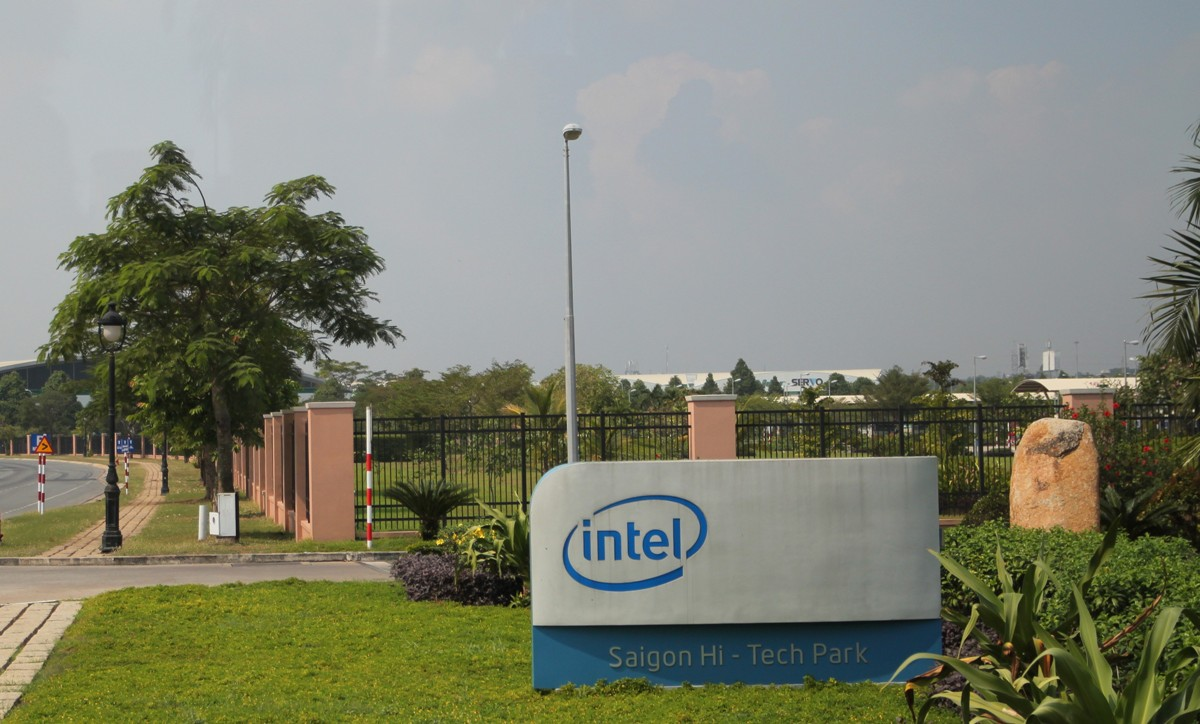 The sign and landscape surrounding the Intel campus in Saigon, Vietnam, which is emblematic of the Southeast Asian country's rise as a tech manufacturing hub.