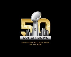 The logo of Super Bowl 50 in 2016, one of the most-watched events in television history and one of the most-promoted events in American sports history.