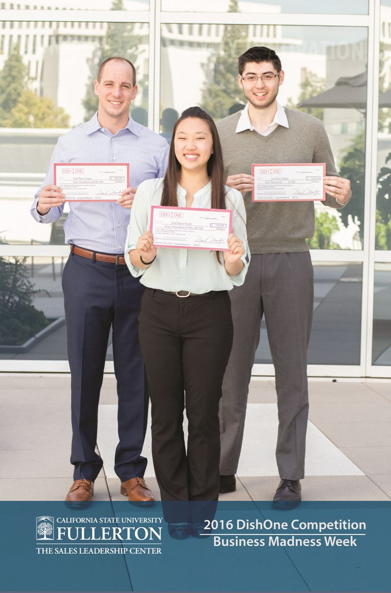Mihaylo College DishOne sales competition winners hold up the certificates of recognition they received for winning first place.