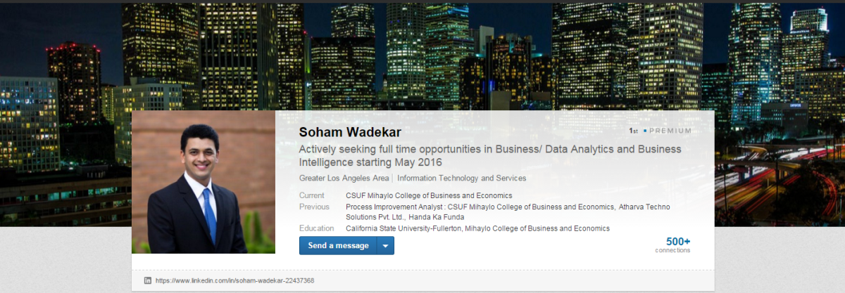 The LinkedIn profile of Mihaylo College grad student Soham Wadekar, which features the Los Angeles skyline as a background image.