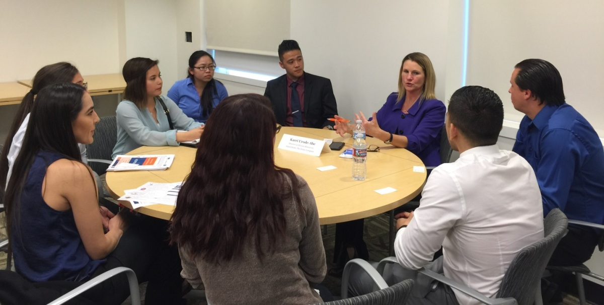 Karri Urode-Abe of The Irvine Company talks with Mihaylo College students at a career-focused event on campus in 2016.