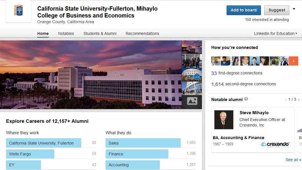 The Cal State Fullerton Mihaylo College LinkedIn profile, which provides professional connections for students and alumni.