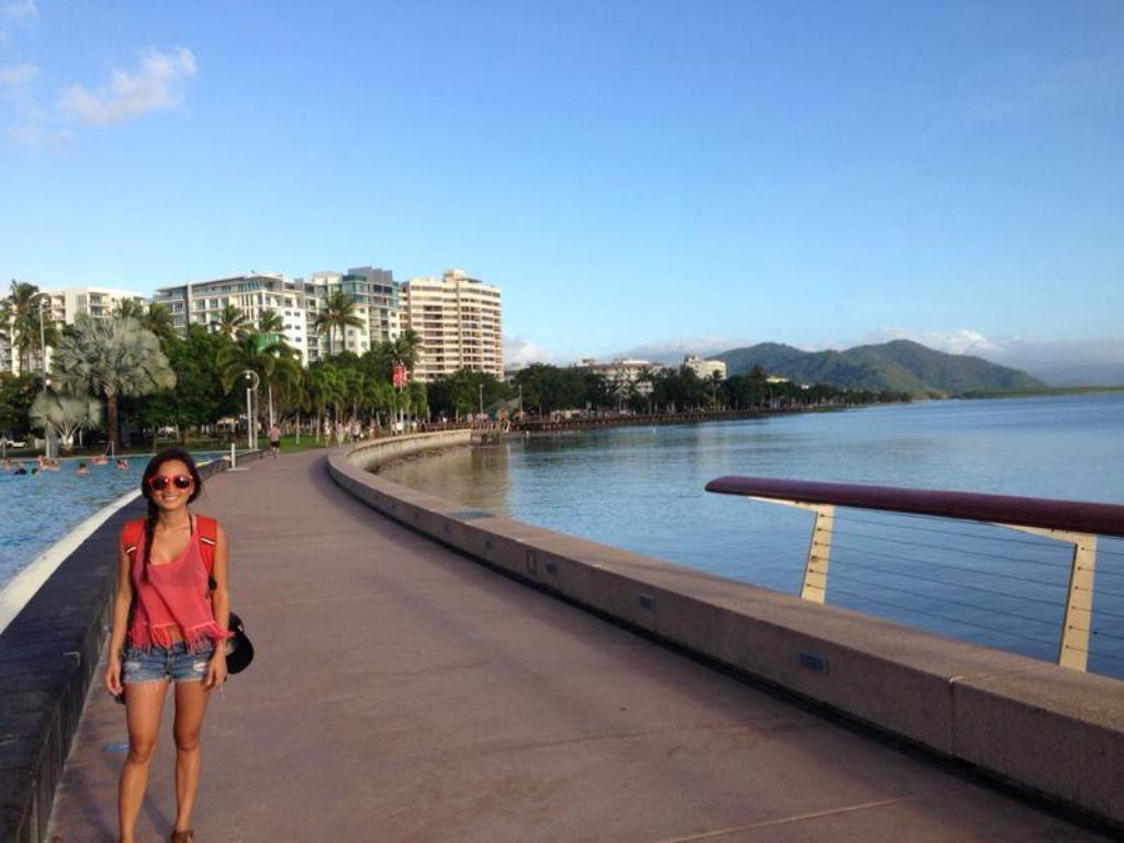Annie Nguyen, a Mihaylo College grad, on the boardwalk at Cairns, Australia.