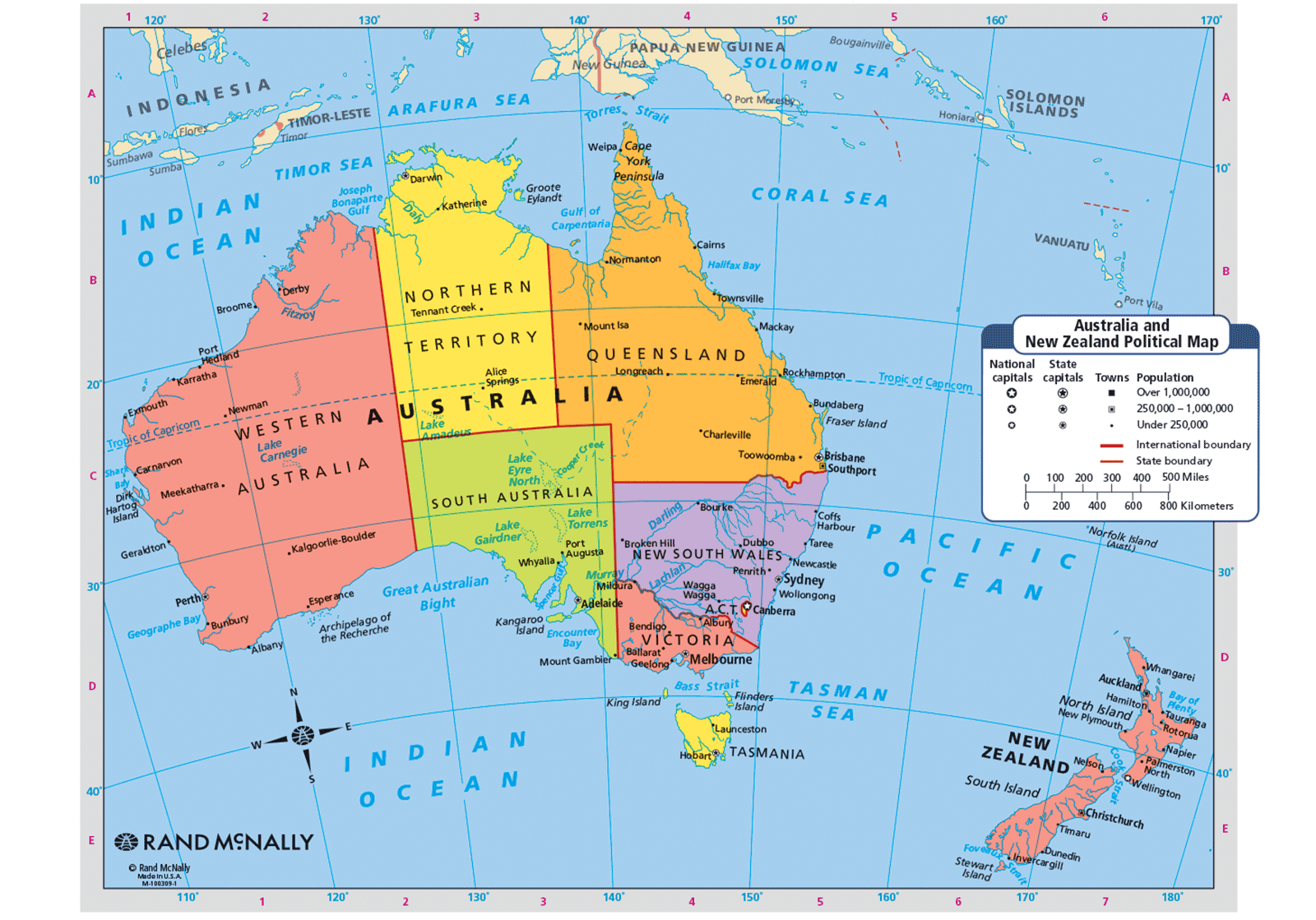 Map showing the states of Australia and New Zealand.