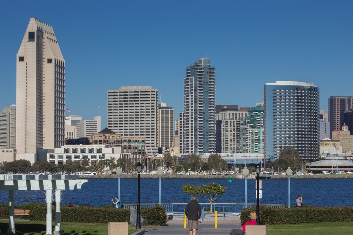The skyline of Downtown San Diego on a clear day, as visible from Coronado Island.