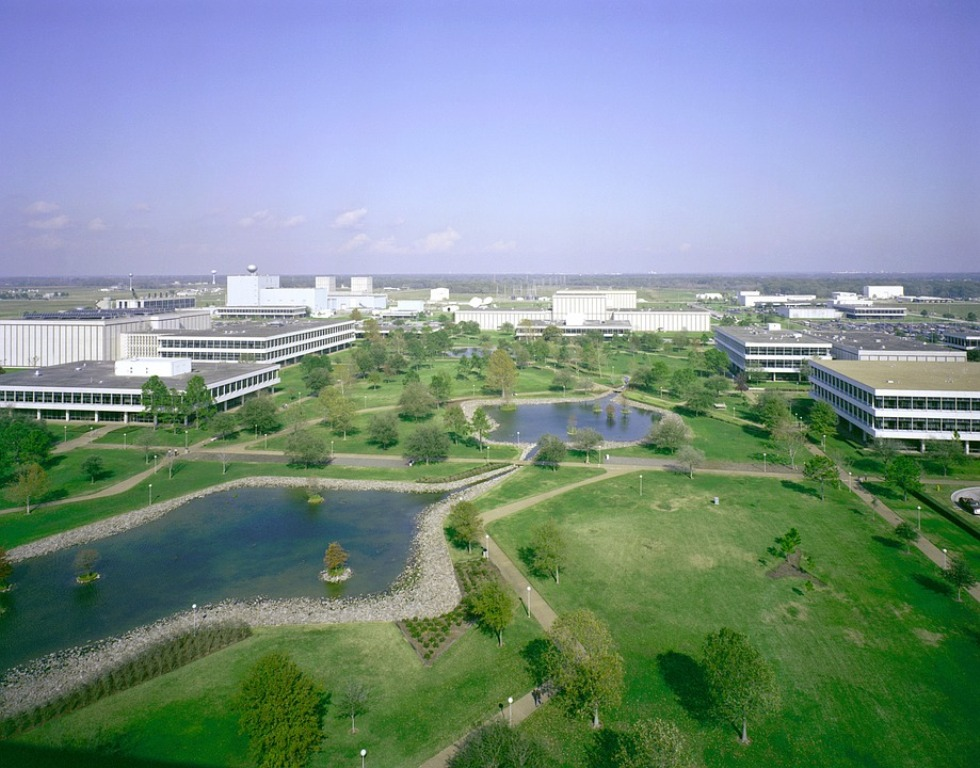 Aerial view of the Johnson Space Center and environs in Houston, Texas, on a clear day.