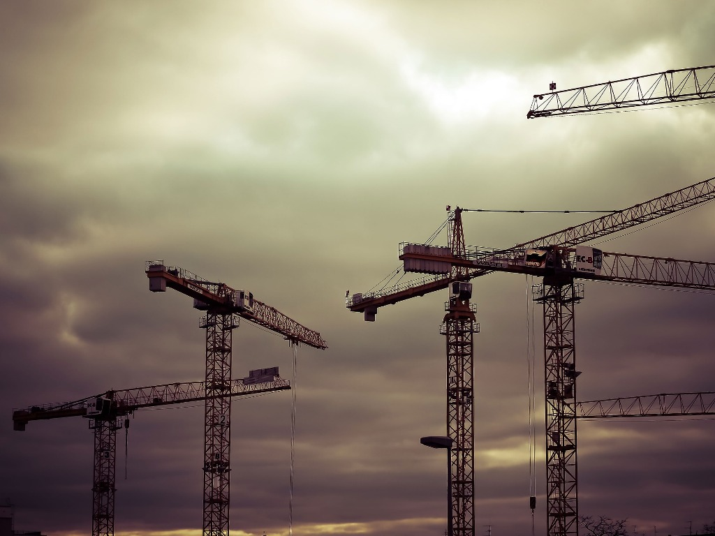 A group of cranes undertaking a major public works project.