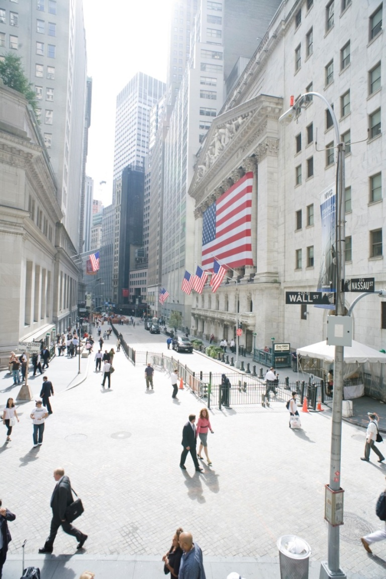 A busy work day on Wall Street in New York City.