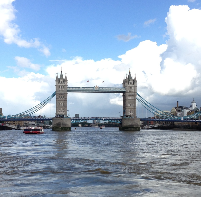 London's Tower Bridge as viewed by boat on the Thames River in summer 2016.