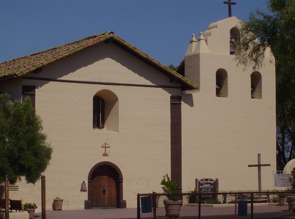 The exterior of Mission Santa Ines, which provides diversity to the otherwise monolithicly Scandinavian influence in Solvang, California.