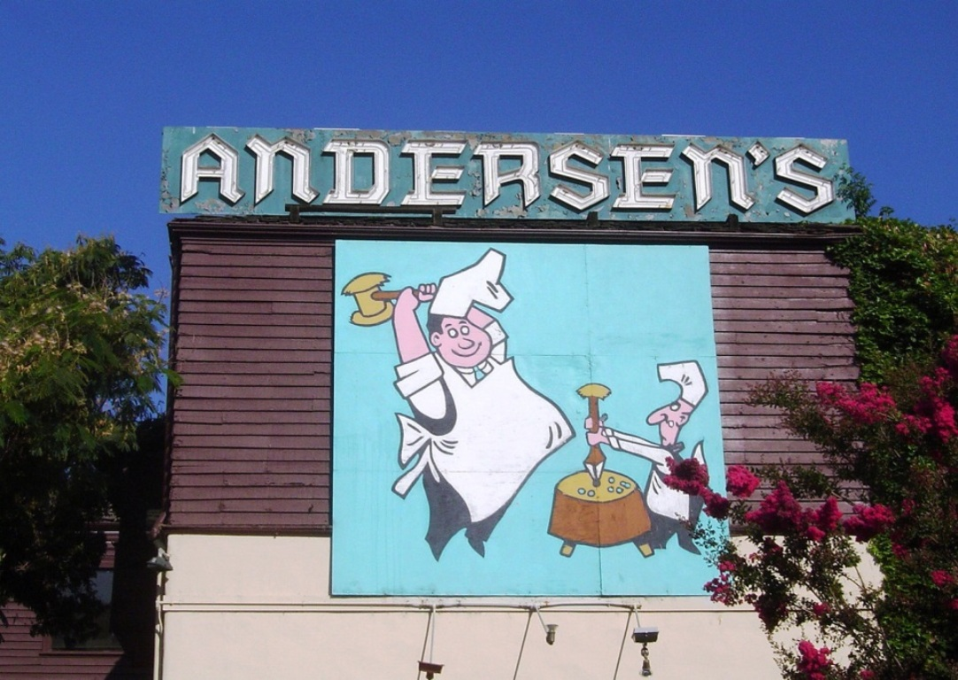 The Pea Soup Andersen's sign in Buellton, California.