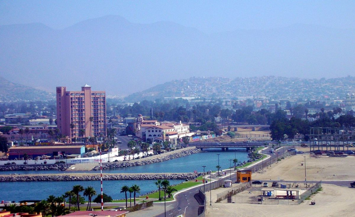 A panoramic cityscape view of Downtown Ensenada, Baja California, Mexico.
