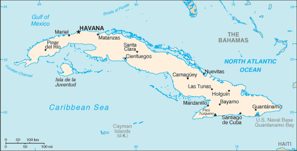 A map of the island of Cuba and nearby island chains.