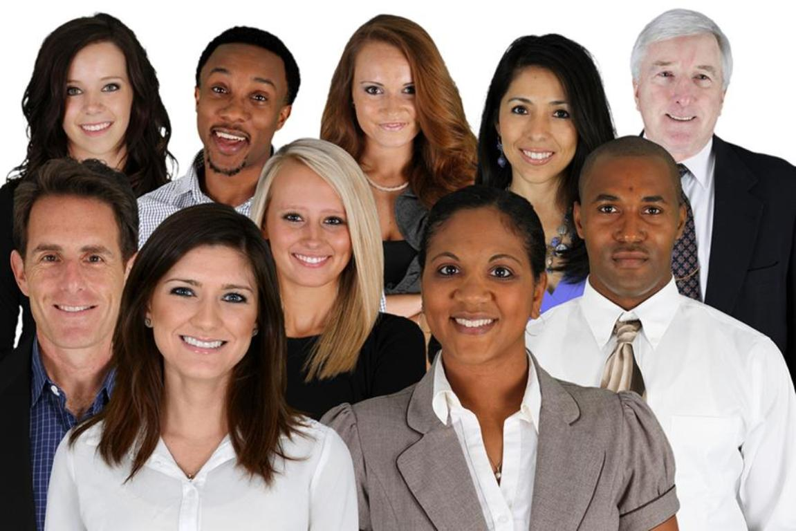 A group of workers, diverse in gender, age and ethnicity, representing the diversity of America's labor force.