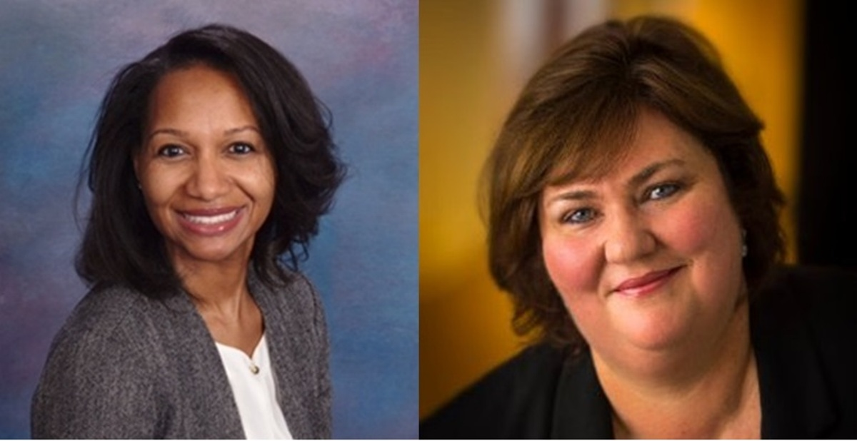 Mihaylo College Cal State Fullerton alumna Tawanda Starms '00 and Frederica Weimer '86, speakers at an event sponsored by the Society of Excellence in Human Resources (SEHR).