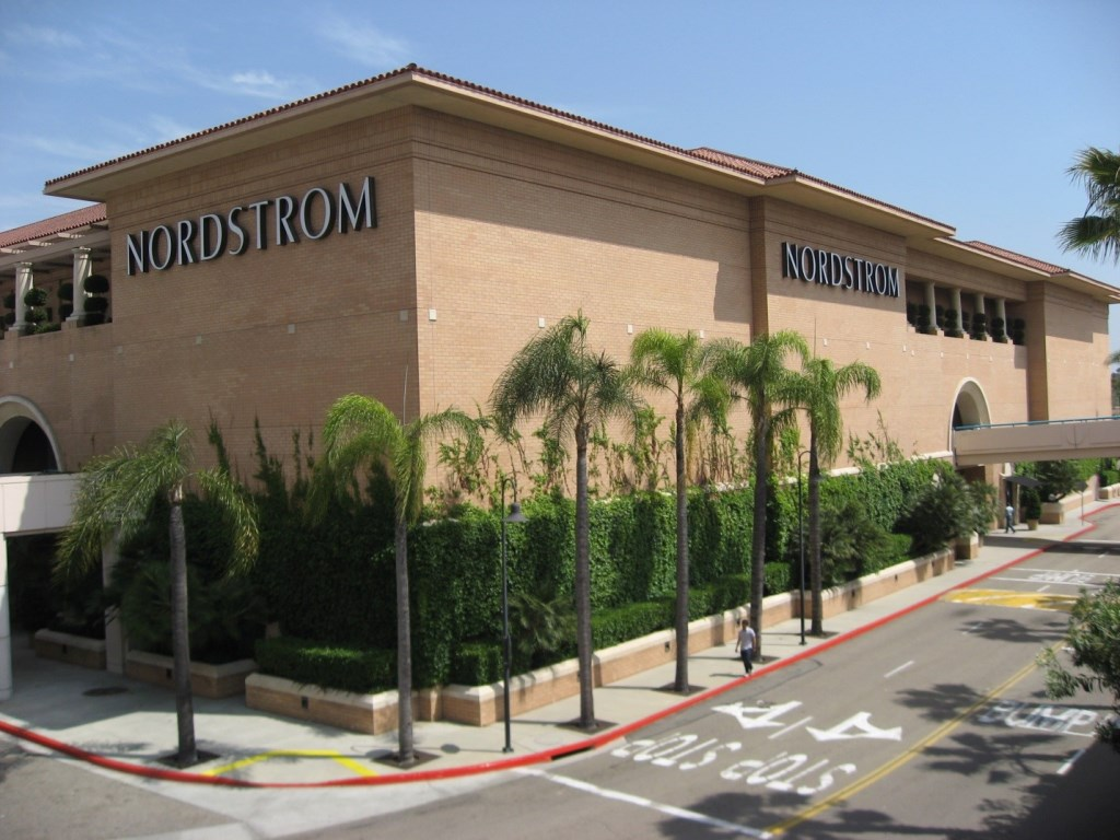 Elevated exterior view of the full-line Nordstrom department store at the Brea Mall in Orange County, California.