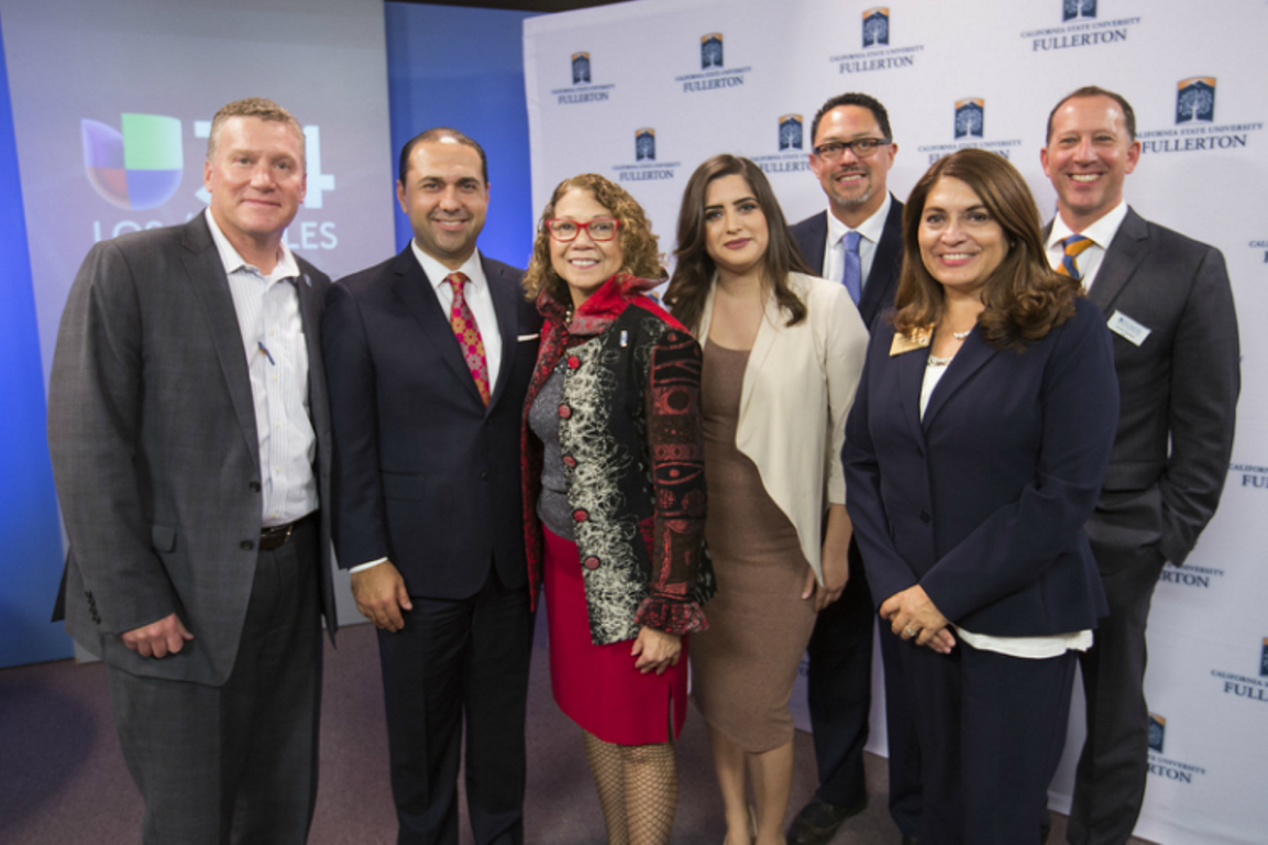 Senior Univision staff and Cal State Fullerton officials at the grand opening of the CSUF bureau of the major Spanish-language media network.