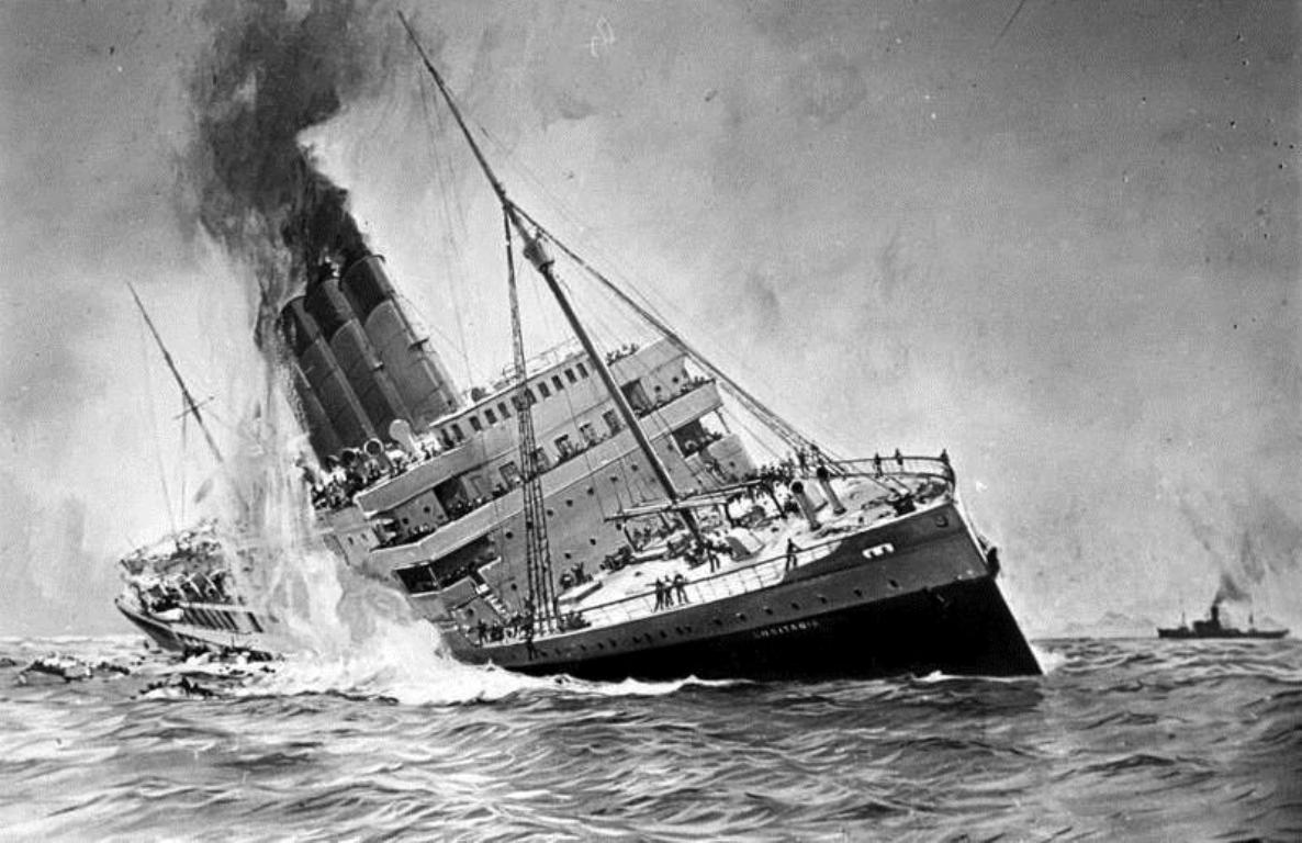 The RMS Lusitania sinking in the cold waters of the Atlantic Ocean.