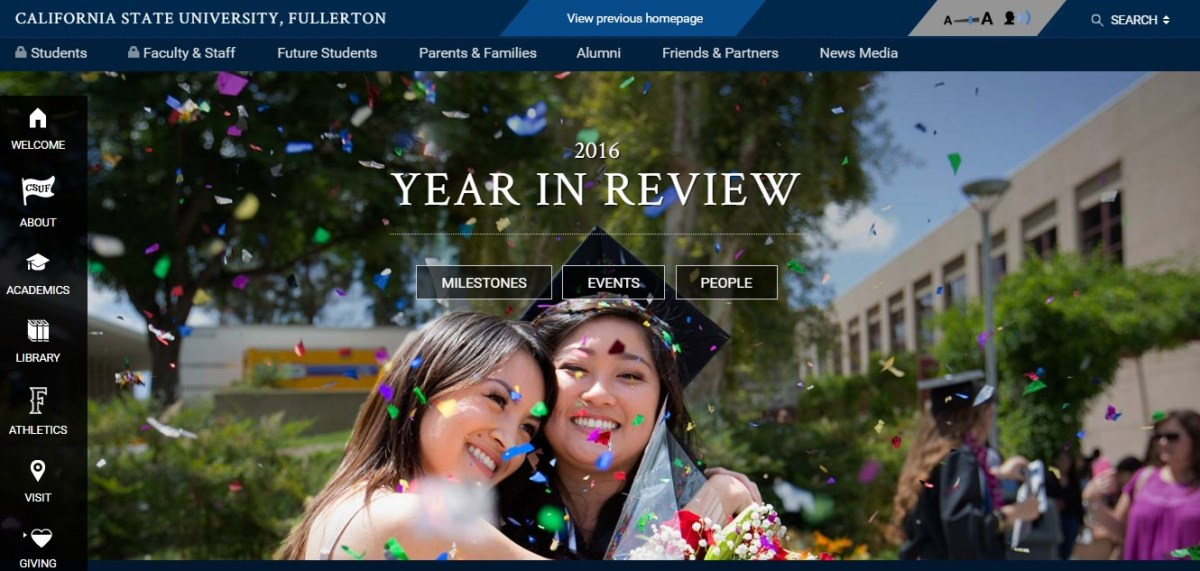 The homepage of the newly-redesigned Cal State Fullerton website welcomes users in January 2017.