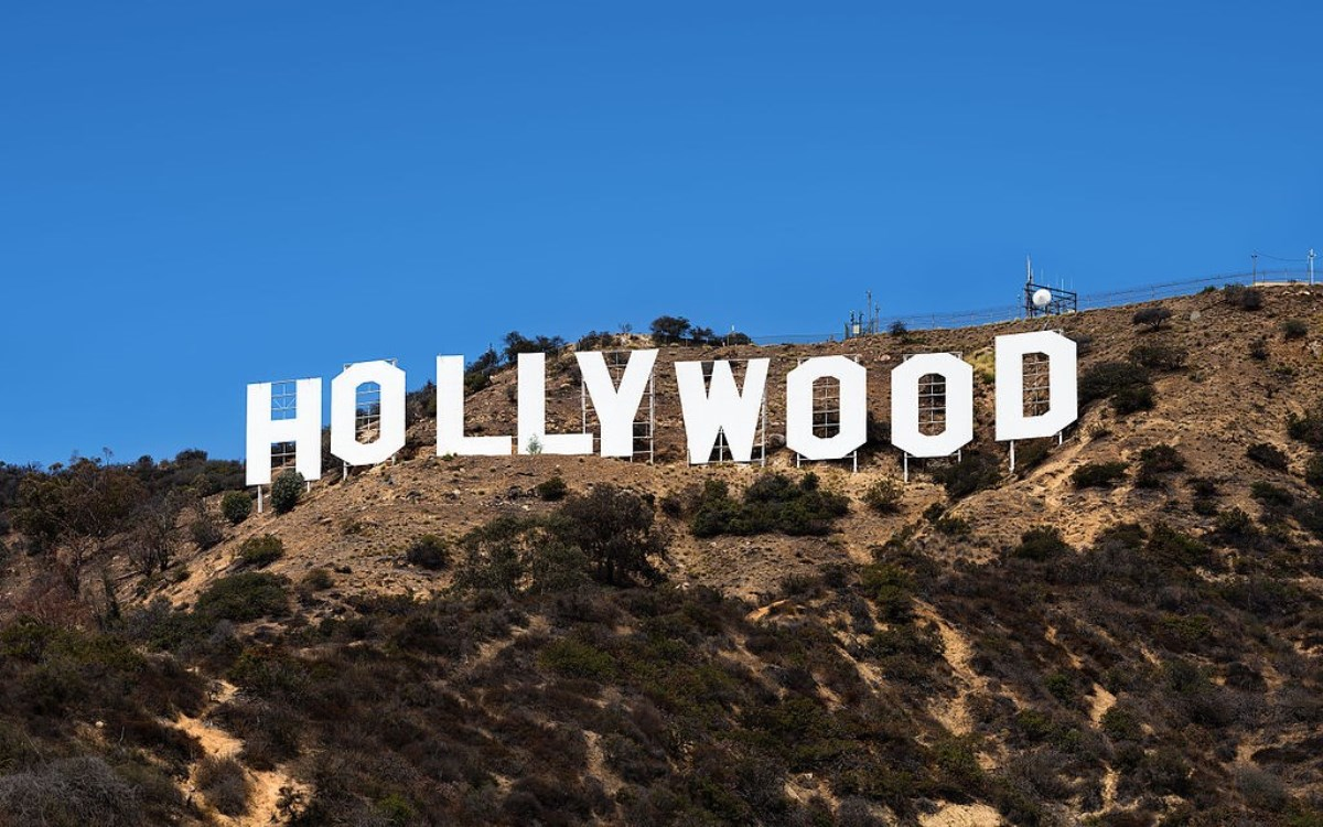 A closeup view of the Hollywood Sign in Los Angeles, a global symbol of the film entertainment industry.