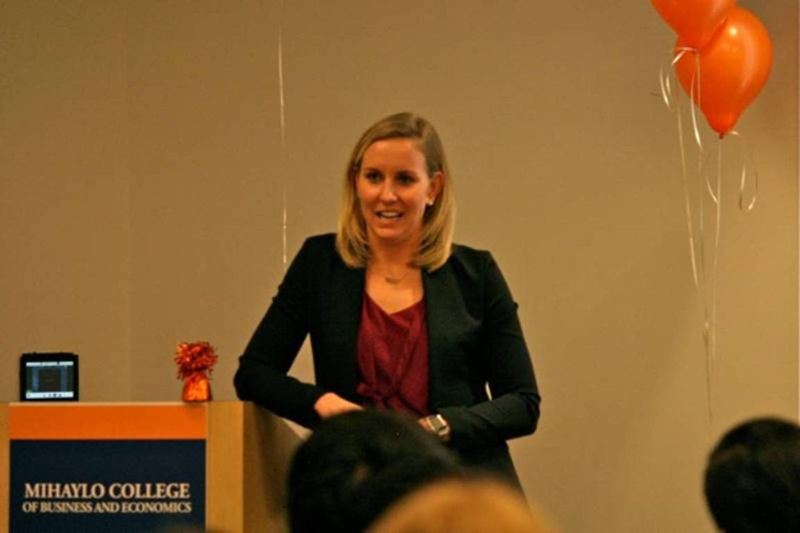 Jessica Hardy speaks to Mihaylo College students at the Sales Leadership Center spring kickoff on Feb. 7, 2017.