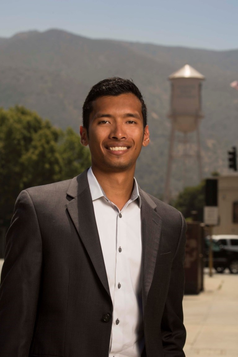 Mark Okumori, a Mihaylo College entertainment and hospitality alumnus, poses at a film set in Southern California.