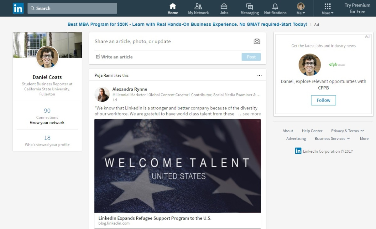 An example of the LinkedIn homepage format in early 2017.
