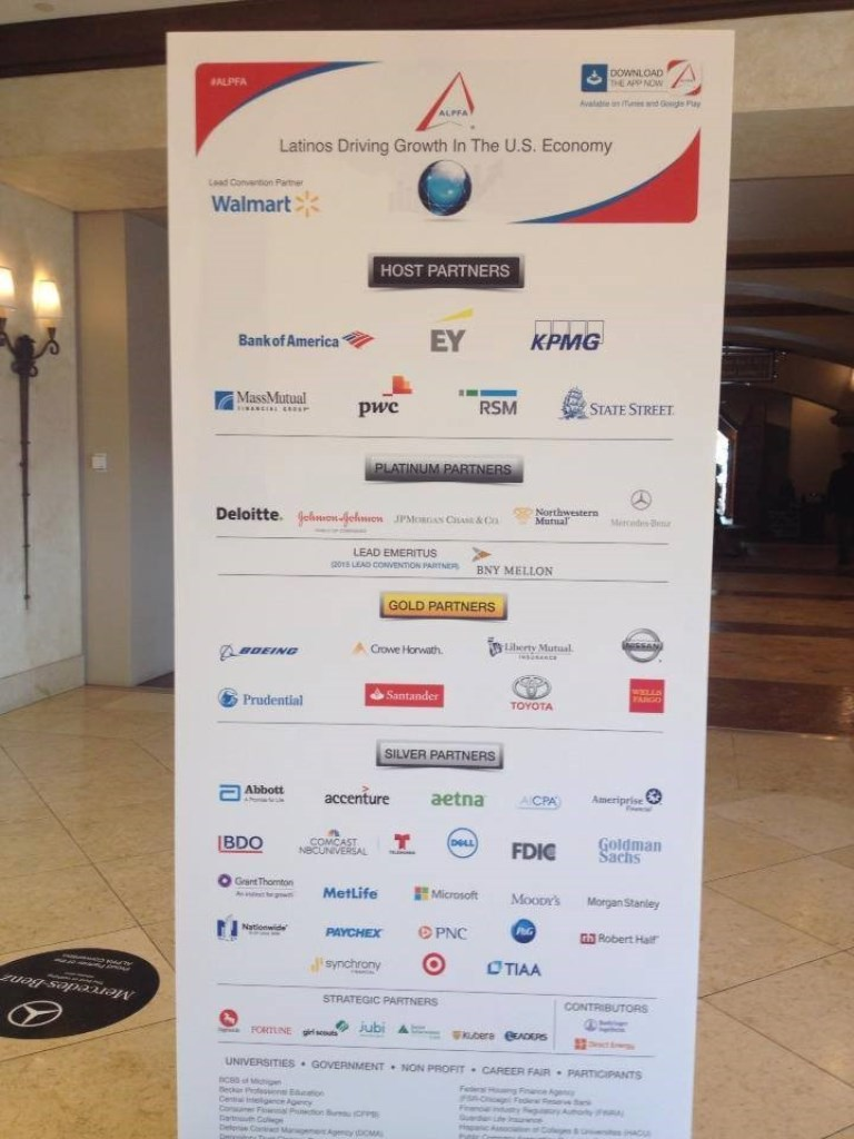 Poster showing the sponsors of the nationwide ALPFA organization.