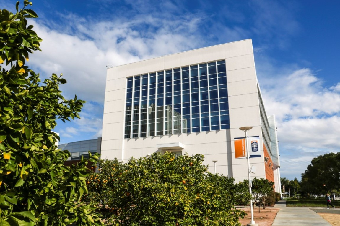 An exterior side view of the state-of-the-art Steven G. Mihaylo Hall at Cal State Fullerton.