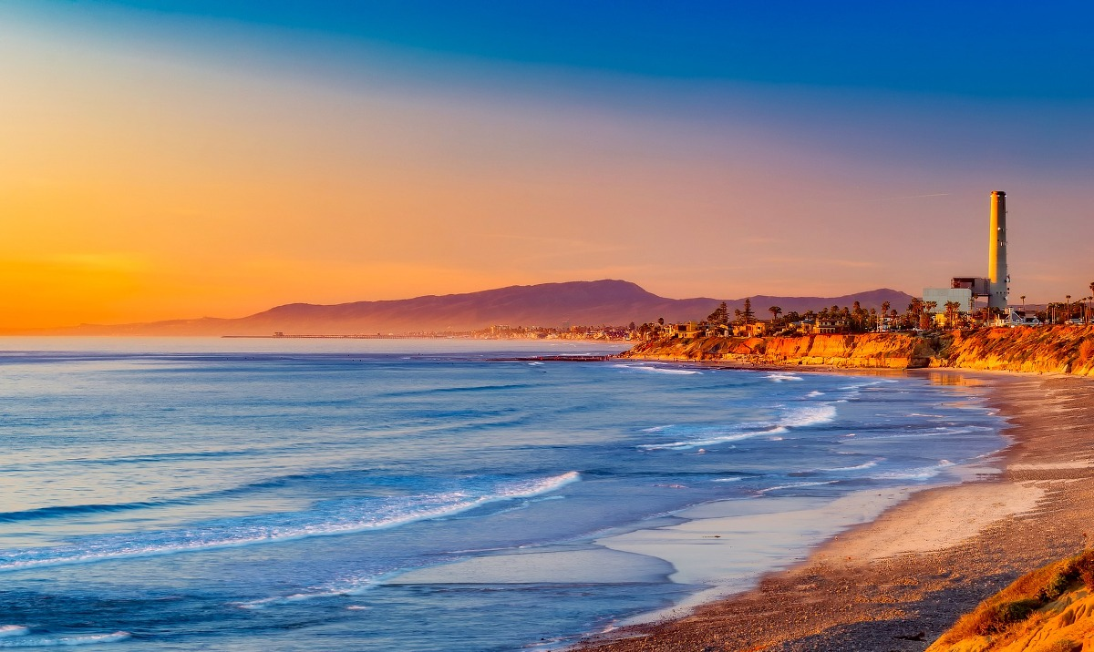 A gorgeous sunset on the Pacific Ocean along the Southern California coast.