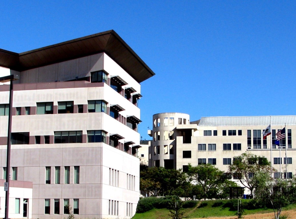The modern buildings of the hilltop campus of Cal State San Marcos north of San Diego, California.