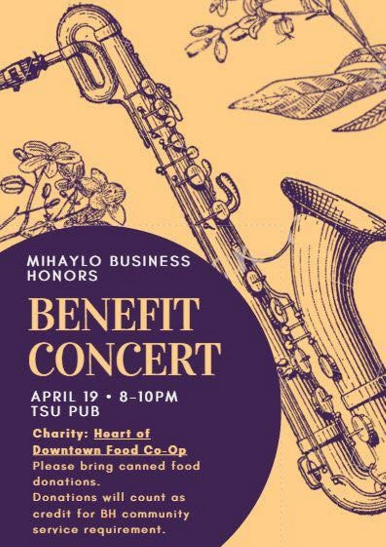 An informational flyer for the Benefit Concert.