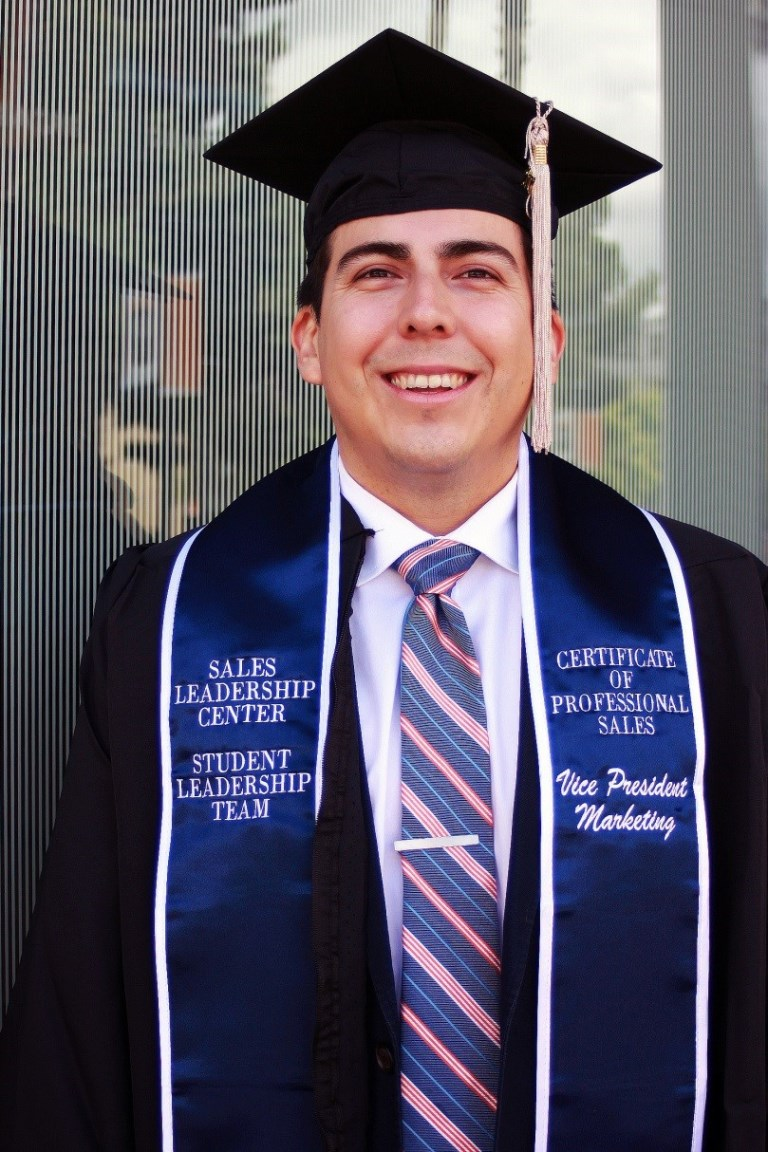 Mihaylo grad and 2017 commencement speaker Fabian Silva '17 in cap and gown.