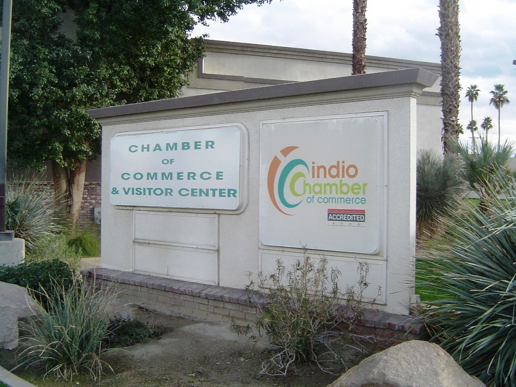 The sign of the Greater Coachella Valley Chamber of Commerce outside their headquarters on Indio Blvd. and Smur St. in Indio, California.