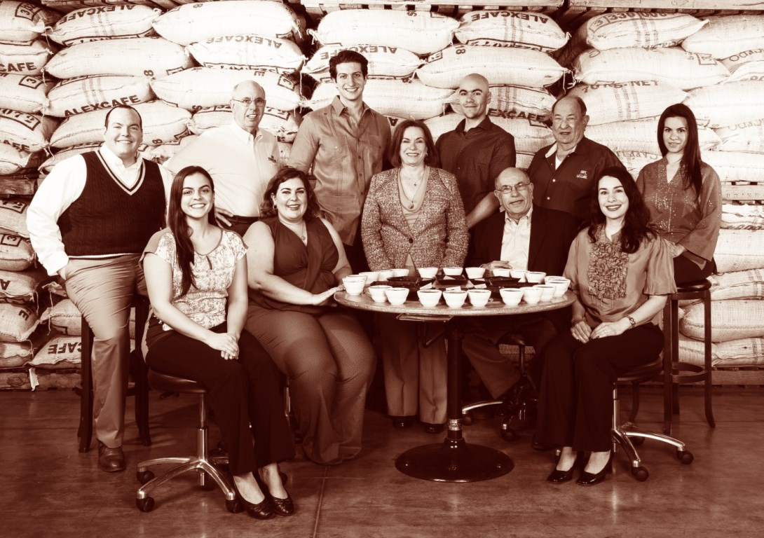 The Gaviña Family, shown in their coffee processing facility near Los Angeles, California.