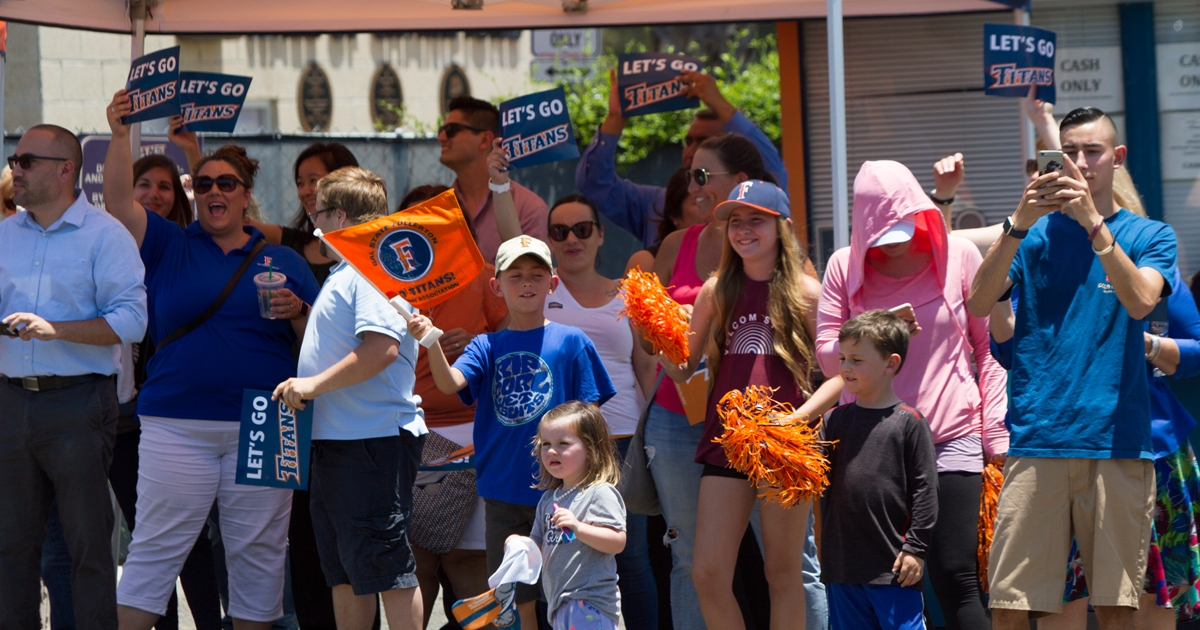 Cal State Fullerton baseball fans turn out to cheer the 2017 team, which advanced to the College World Series.