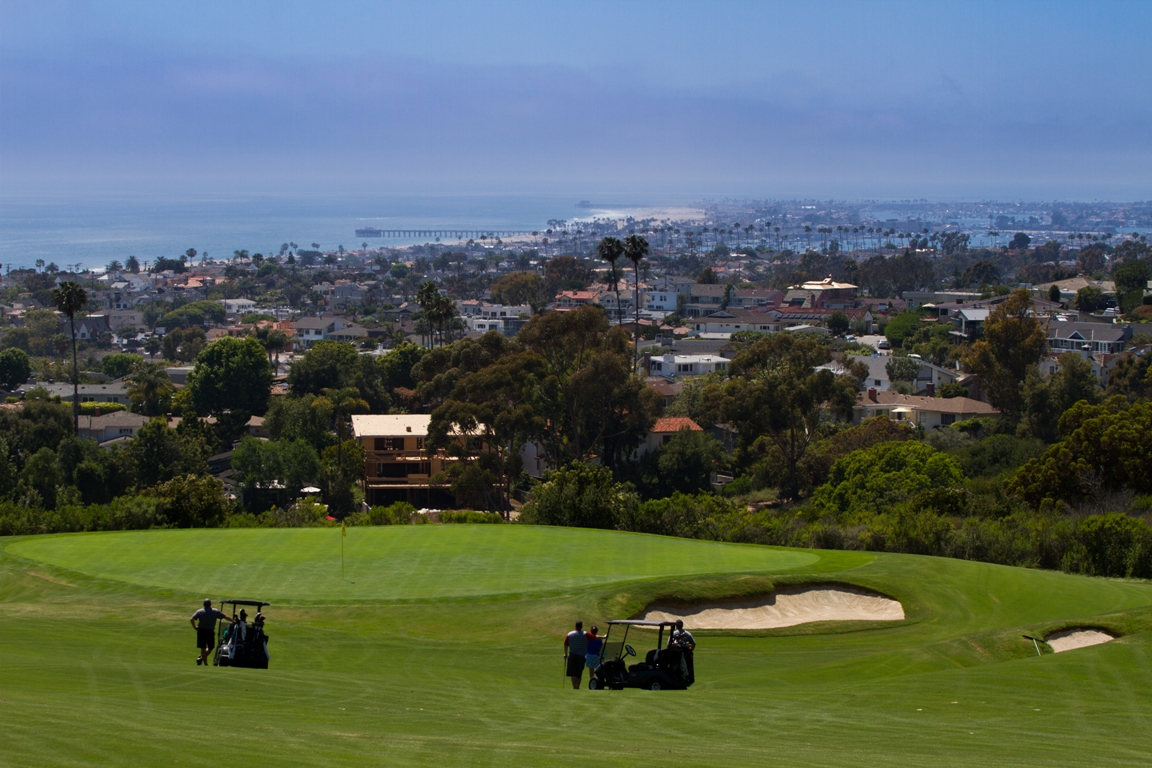 The dramatic coastal scenery of Newport Beach, California, as visible from Pelican Hill Golf Club.