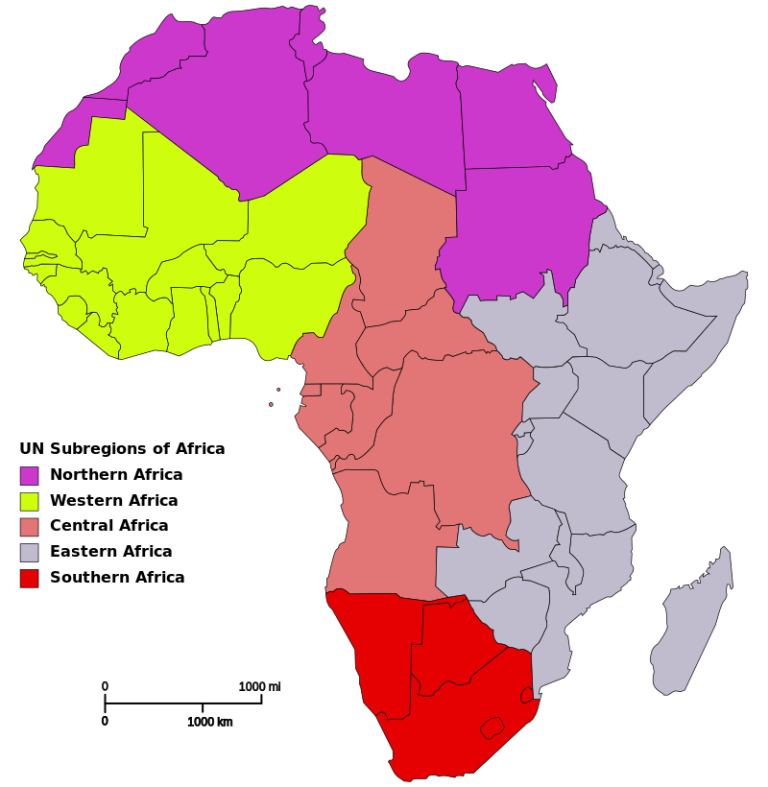 Geographers divide the African continent into several regions.