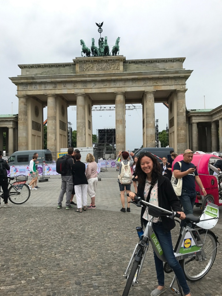 Ada Fu, a Mihaylo College finance student, poses in front of the Brandenburg Gate in Berlin, Germany.