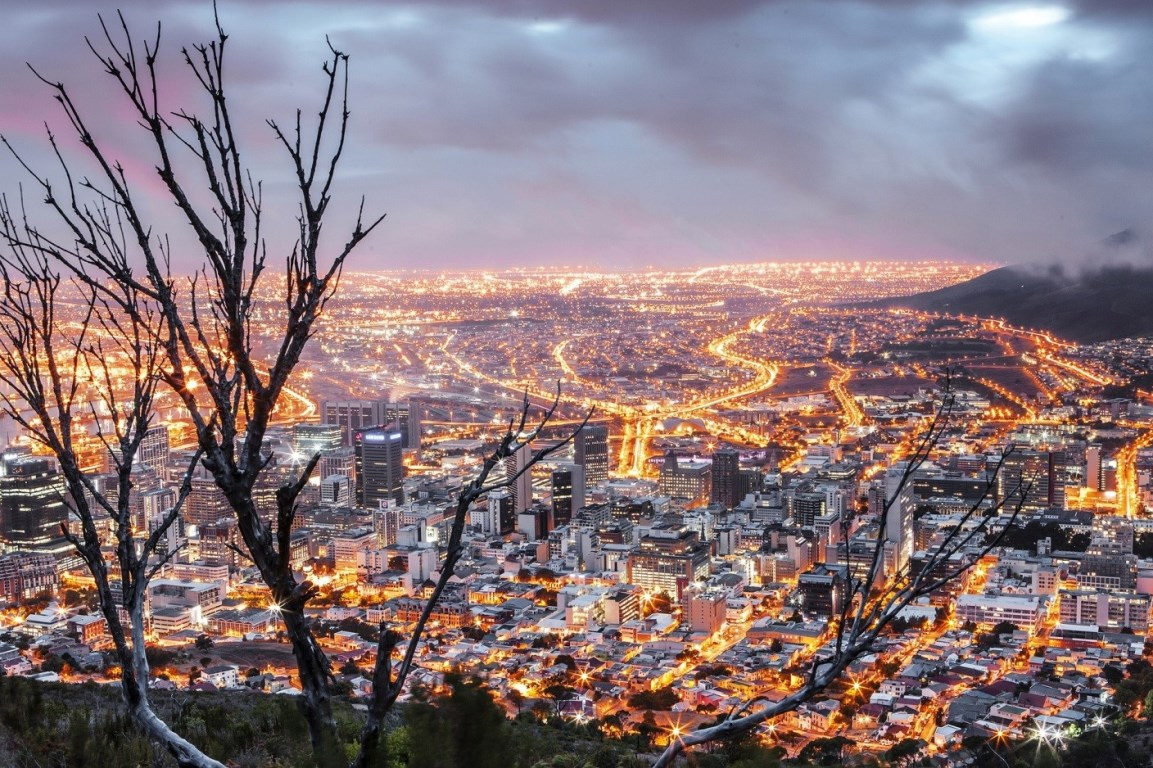 Hilltop view of Cape Town, South Africa, one of the growing metropolises that are at the heart of socioeconomic transformation of the world's second most populous continent.