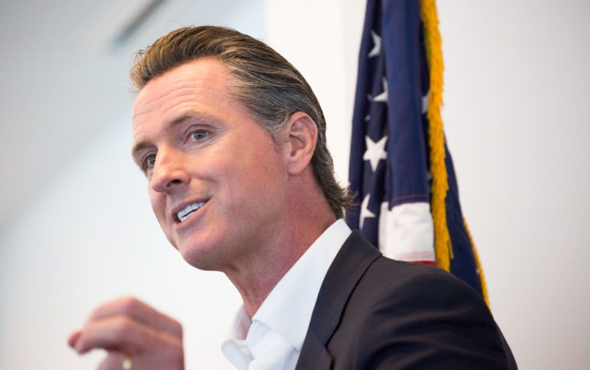 California Lieutenant Governor Gavin Newsom speaking at an event in Orange County sponsored by Mihaylo College's office of Lead SBDC.