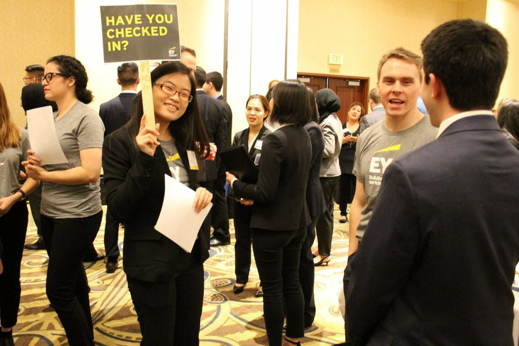 Gloria Chu at the Meet the Firms recruiting event