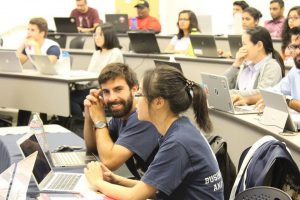 Students at a professional development workshop sponsored by the CSUF Business and Data Analytics Club.
