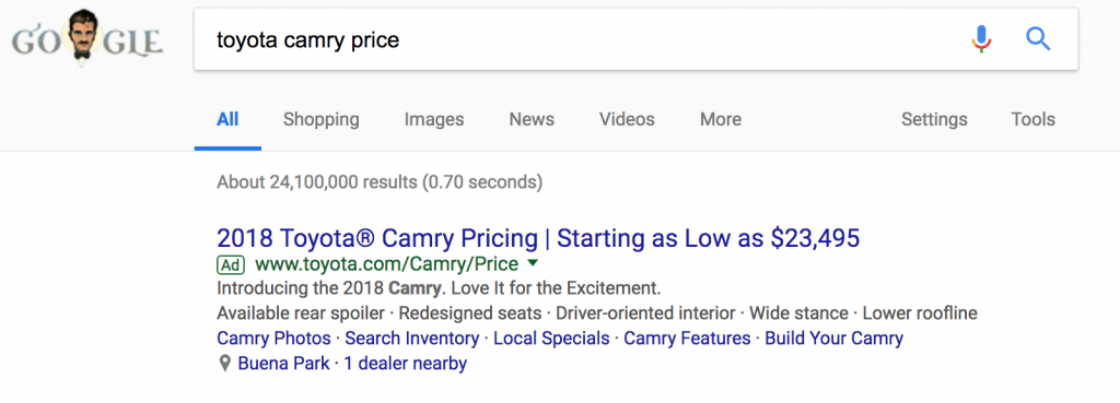 An example of a PPC advertisement on Google.