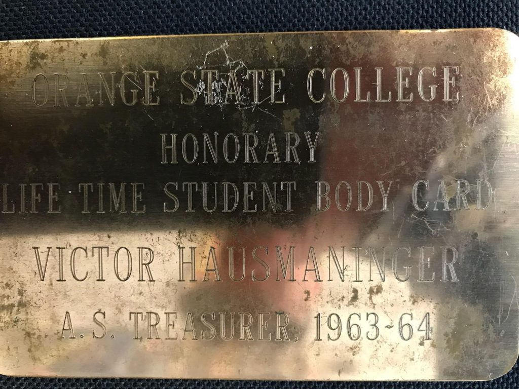 An early alumni association card at Cal State Fullerton.